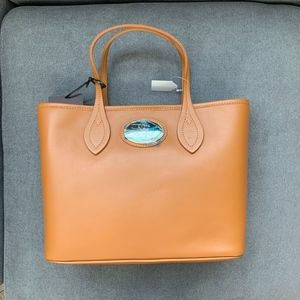 Roberto Cavalli Firenze Brown Leather Tote Bag